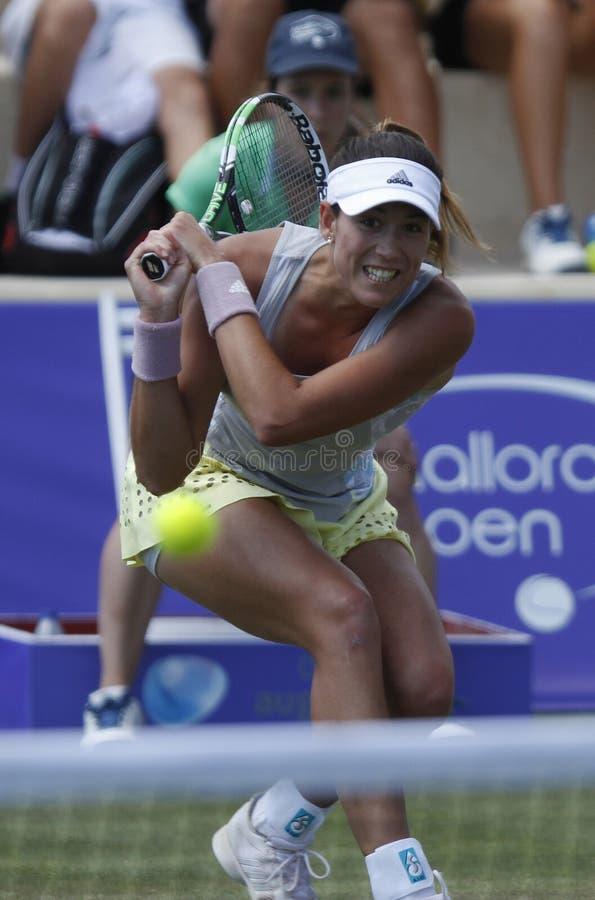 Joueur de tennis de dessus de Garbine Muguruza jouant en Majorque ouverte image libre de droits