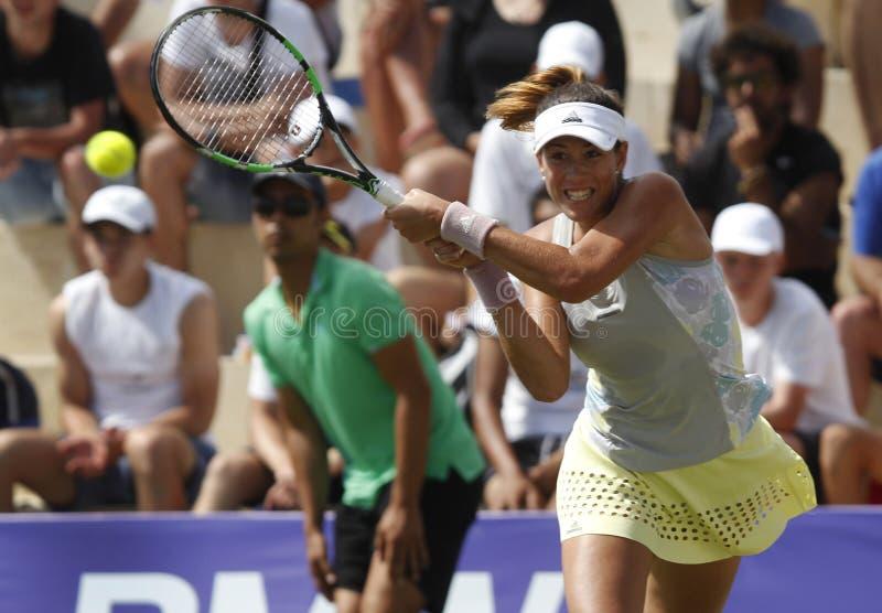 Joueur de tennis de dessus de Garbine Muguruza jouant en Majorque ouverte photographie stock libre de droits