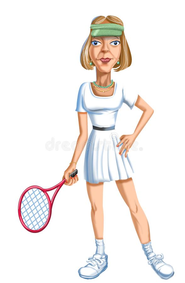 Joueur de tennis de Rich Older Lady de bande dessinée photo libre de droits