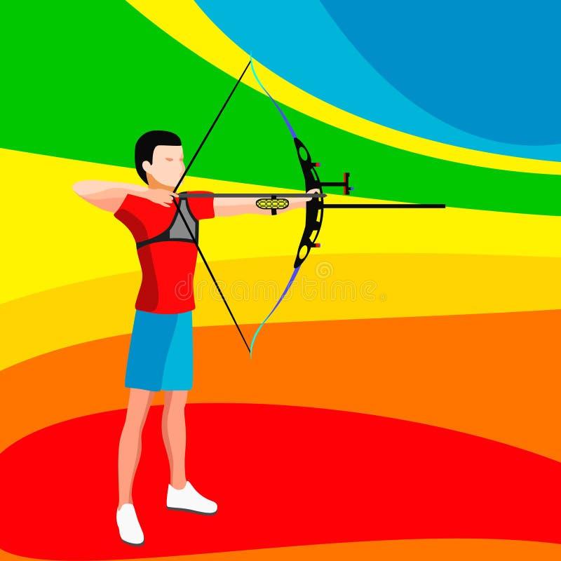Joueur de tir à l'arc ensemble d'icône de 2016 jeux d'été joueur isométrique Archer de tir à l'arc 3D Championnat sportif Archery illustration stock