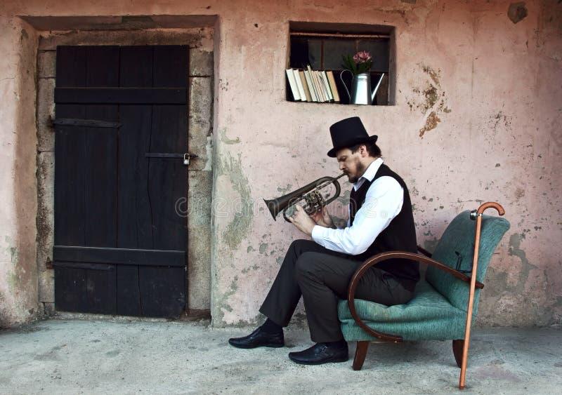 Joueur de trompette photo stock