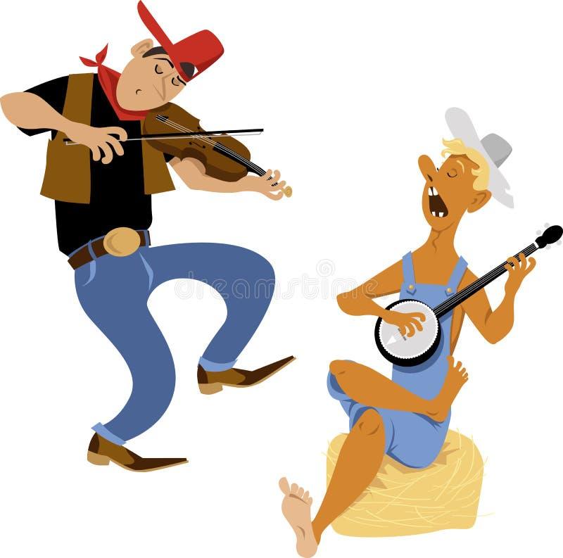 Joueur de violoneur et de banjo illustration de vecteur