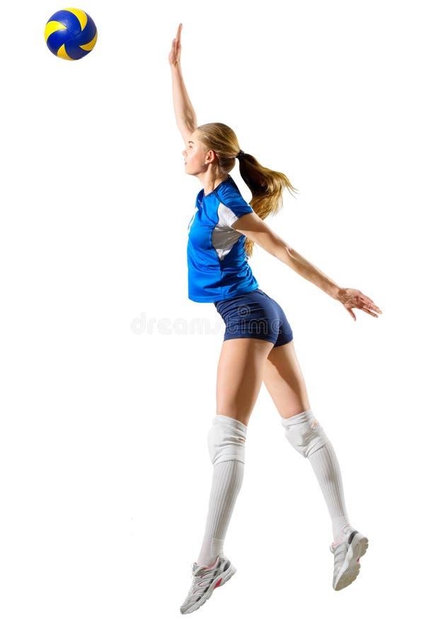 Joueur de voleyball de jeune femme d'isolement photo stock