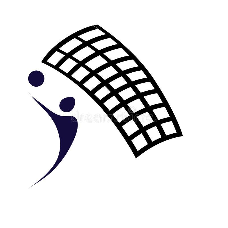 Joueur de volleyball avec le filet noir illustration libre de droits
