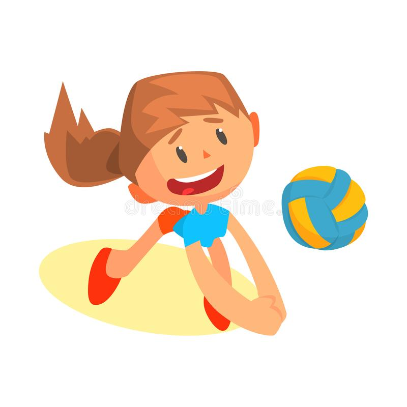 Joueur de volleyball de l'adolescence gai de fille dans la boule frappante uniforme illustration stock