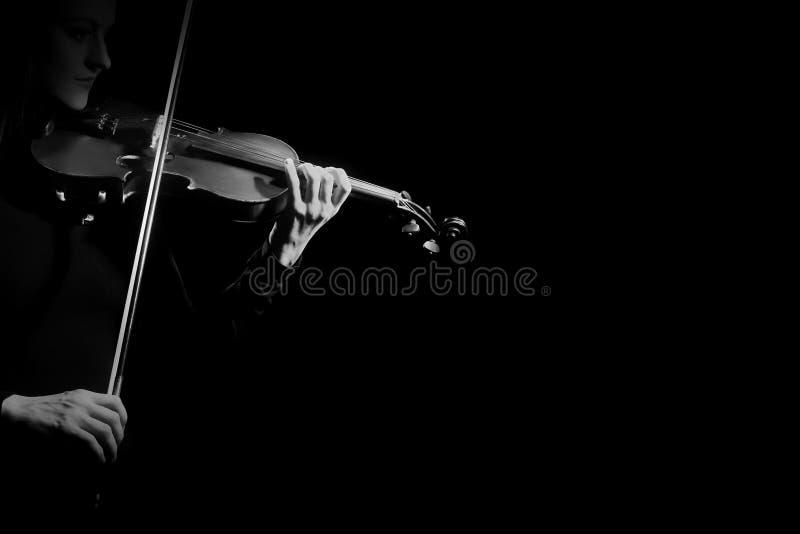 Joueur haut étroit de violoniste de mains de violon photo stock