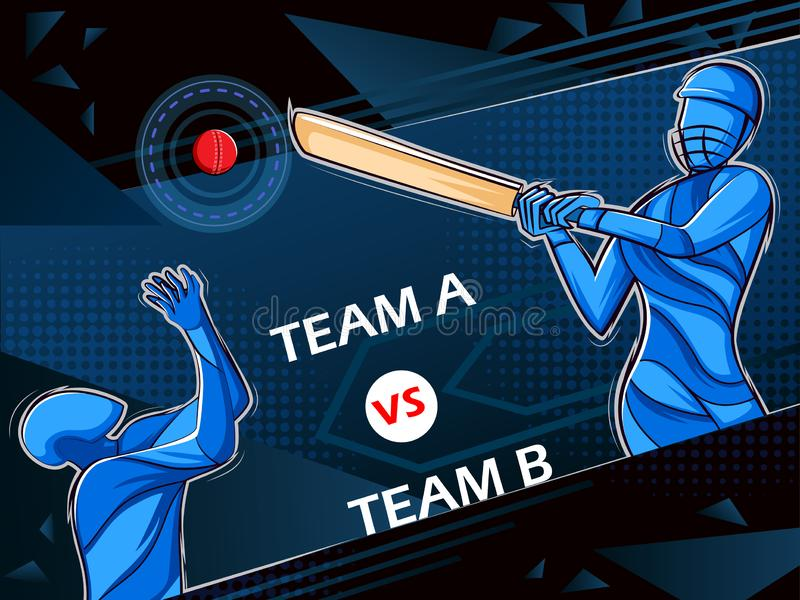 Joueur jouant le championnat de tournoi de ligue de sports de cricket illustration stock