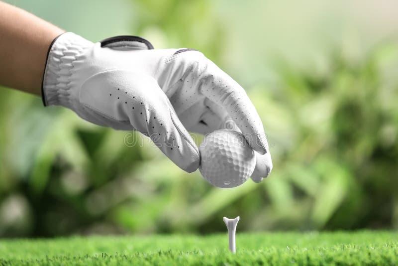 Joueur mettant la boule de golf sur la pièce en t sur le fond brouillé photos libres de droits