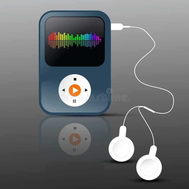 Joueur Mp3 [1] Lecteur mp3 abstrait de vecteur avec des écouteurs illustration libre de droits