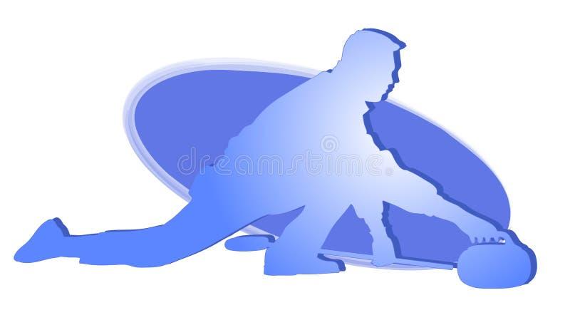 Joueur s'enroulant - graphisme bleu illustration de vecteur