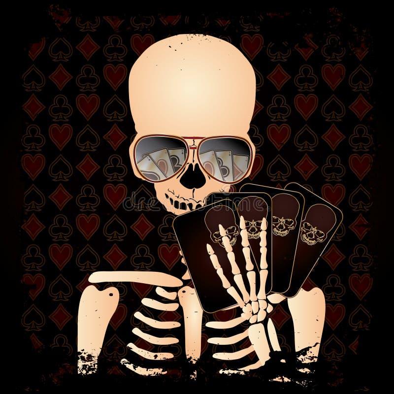 Joueur squelettique avec des cartes de tisonnier illustration libre de droits