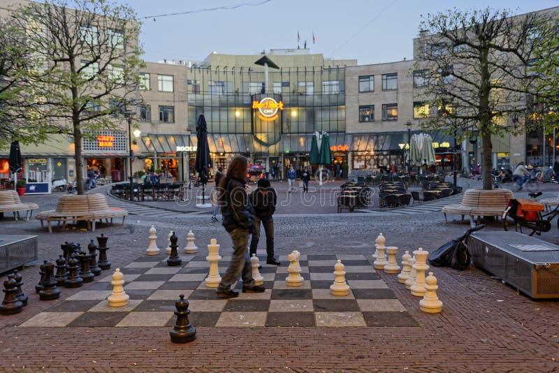 Joueurs d'échecs en parc ouvert, Amsterdam, Hollande photo libre de droits