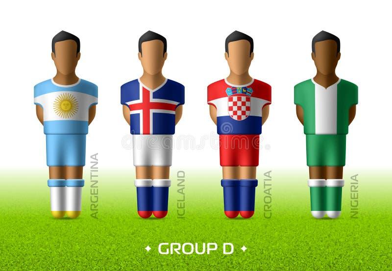 Joueurs d'équipe du football dans l'uniforme des drapeaux nationaux pour le championnat du football en Russie 201S illustration de vecteur