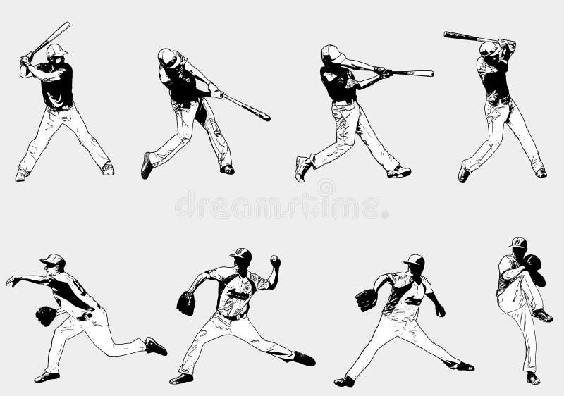 Joueurs de baseball réglés - illustration de croquis illustration libre de droits