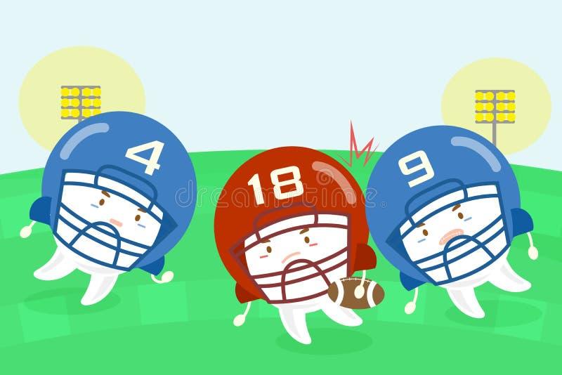Joueurs de football américain de dent de bande dessinée illustration libre de droits