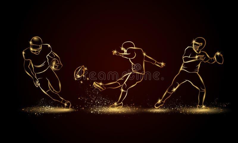 Joueurs de football américain réglés Illustration linéaire d'or de joueur de football illustration libre de droits