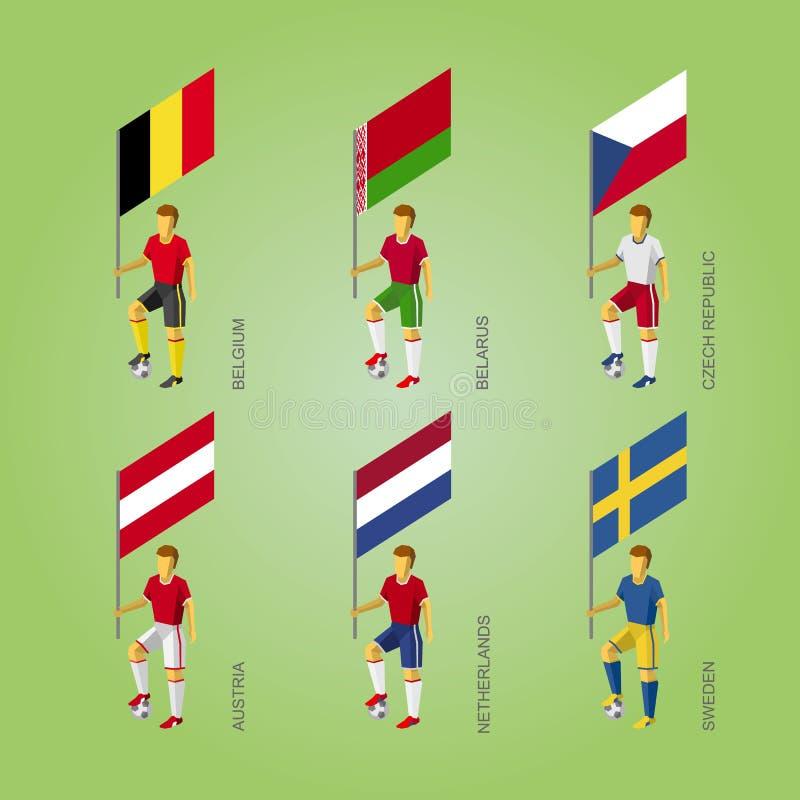Joueurs de football avec des drapeaux : La Belgique, Belarus, République Tchèque, A illustration libre de droits