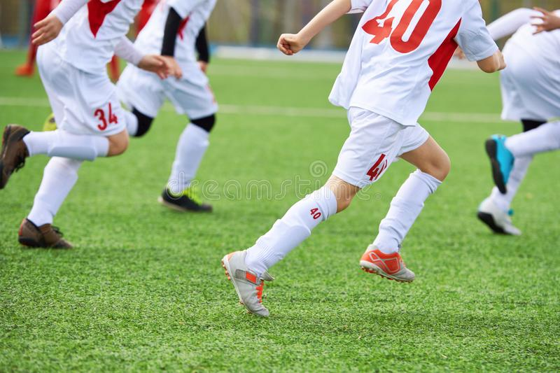 Joueurs de football d'enfants s'exerçant sur le champ vert photographie stock libre de droits