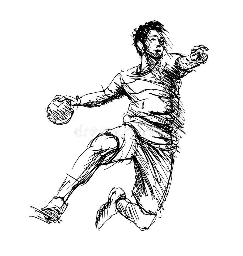 Joueurs de handball de croquis de main illustration libre de droits