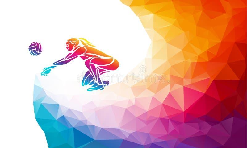 Joueuse de dame de volleyball Banni?re polygonale de vecteur de sport collectif illustration libre de droits