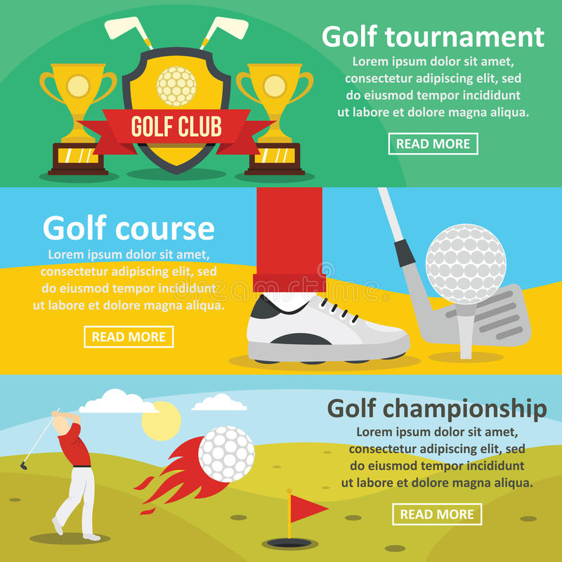 Jouez au golf l'ensemble horizontal de bannière de tournoi, style plat illustration libre de droits