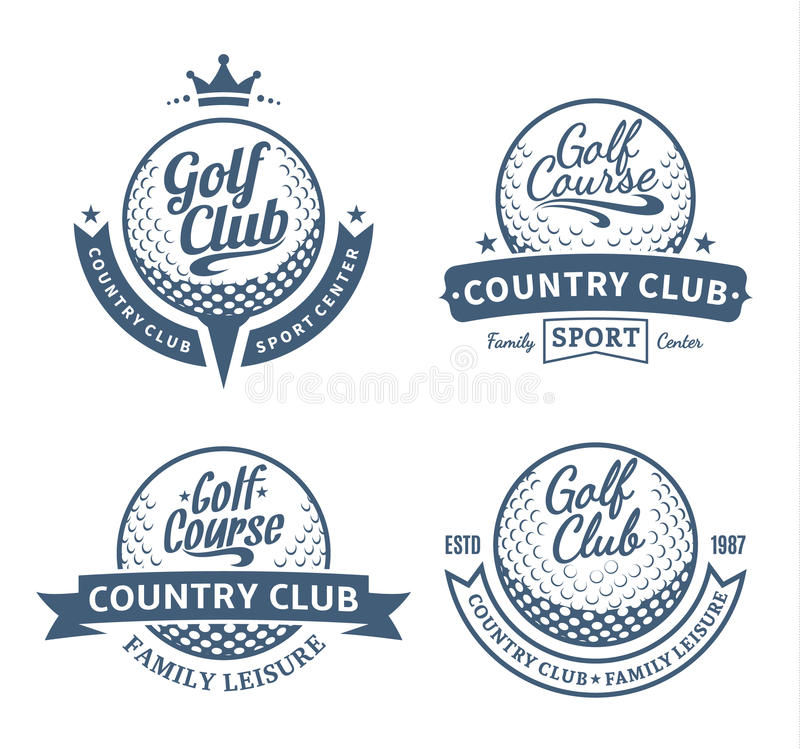Jouez au golf le logo de club national, les labels et les éléments de conception illustration libre de droits