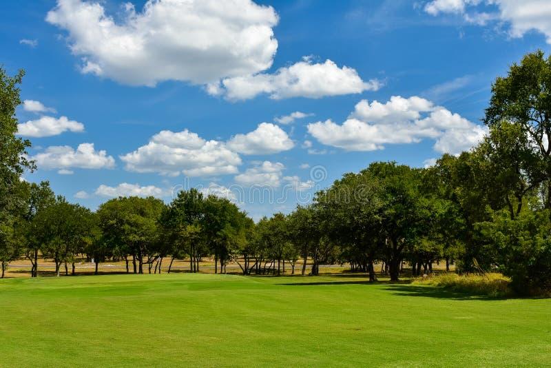 Jouez au golf le vert dans le Texas central garni des arbres images stock