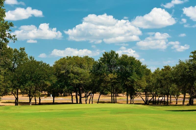 Jouez au golf le vert dans le Texas central garni des arbres image stock