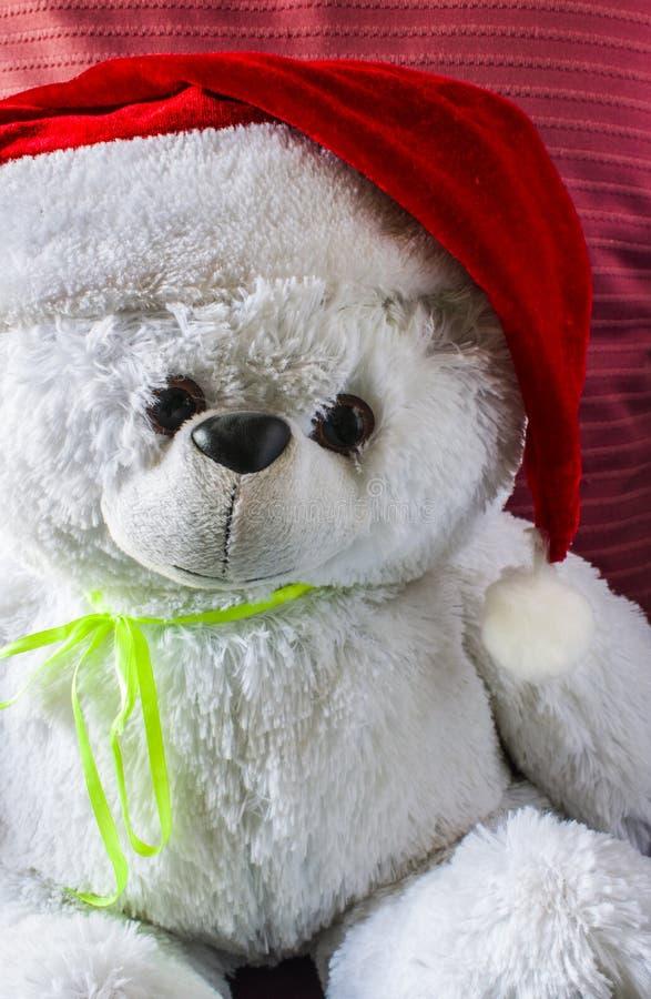Jouez l'ours de nounours utilisant le chapeau de Santa, sur un fond rouge image libre de droits
