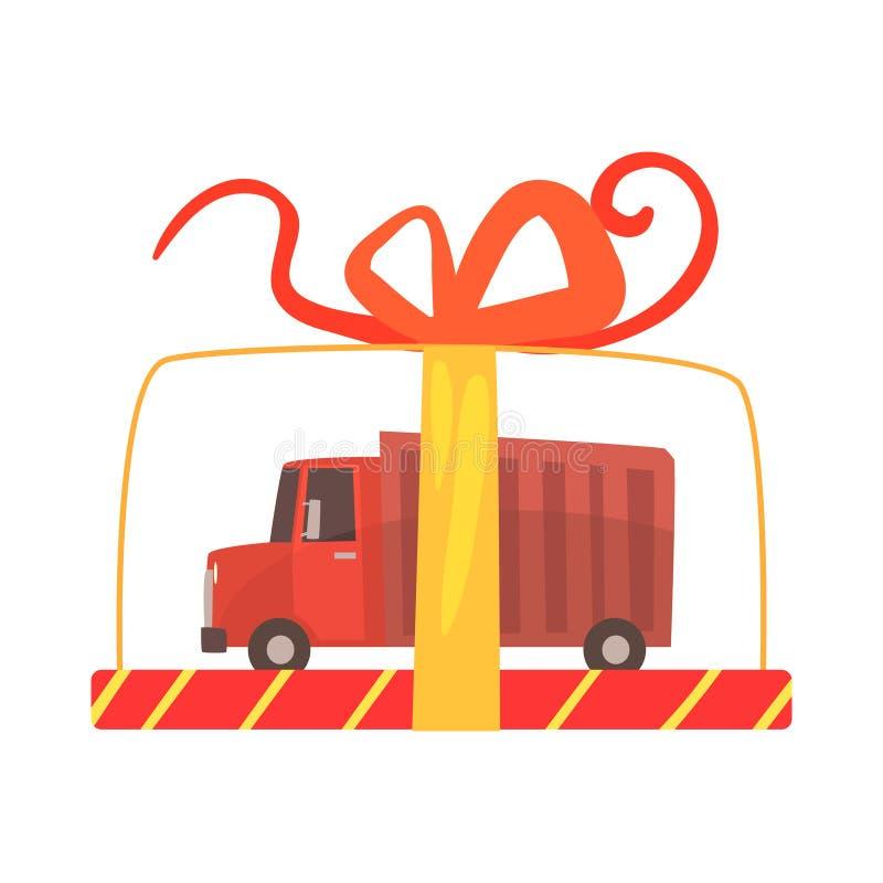 Jouez le camion dans une illustration transparente de vecteur de bande dessinée de boîte-cadeau illustration de vecteur