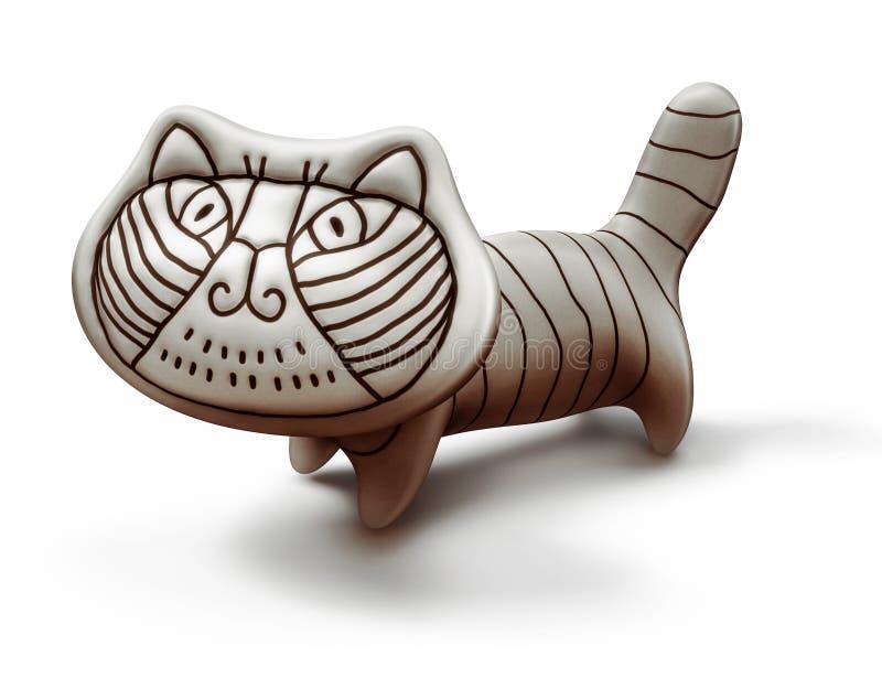 Jouez le chat en céramique sur le style blanc et italien illustration de vecteur