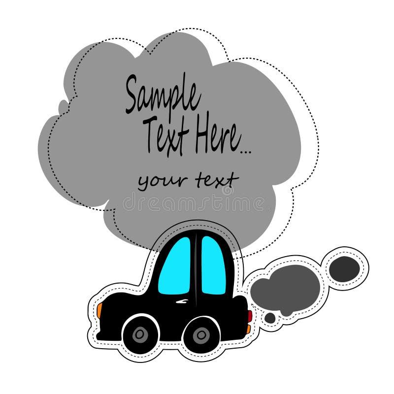 Jouez le contour blanc de voitures sur un fond bleu Voyage de véhicules Autocollant pour des enfants sur le thème de la machine V illustration de vecteur