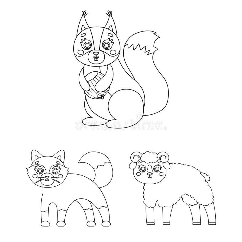 Jouez les icônes d'ensemble d'animaux dans la collection d'ensemble pour la conception L'oiseau, le prédateur et l'herbivore diri illustration stock