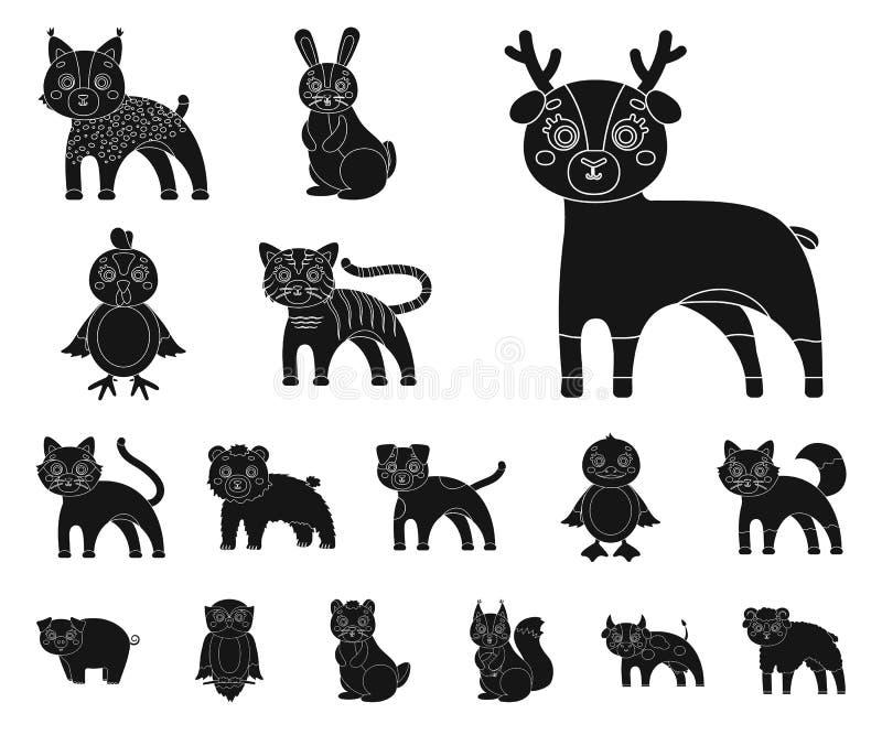 Jouez les icônes noires d'animaux dans la collection d'ensemble pour la conception L'oiseau, le prédateur et l'herbivore dirigent illustration libre de droits