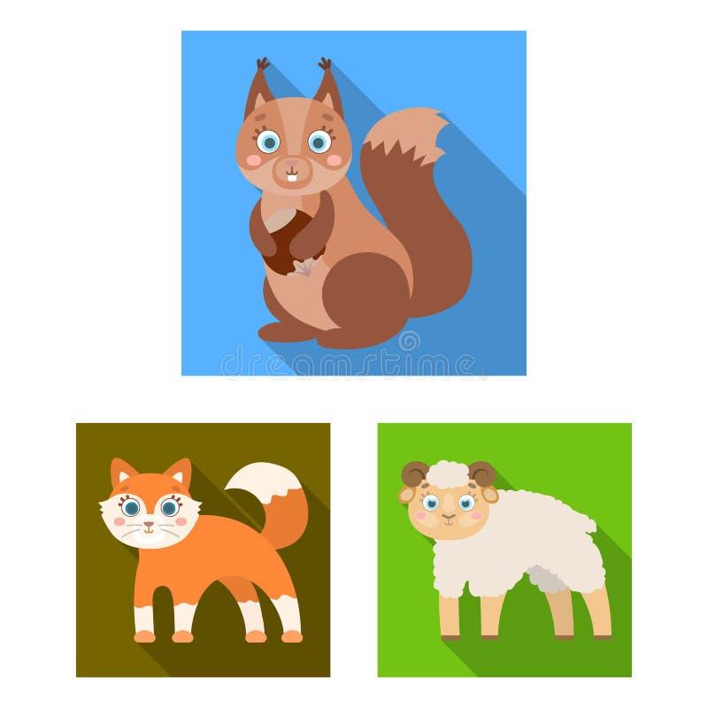 Jouez les icônes plates d'animaux dans la collection d'ensemble pour la conception L'oiseau, le prédateur et l'herbivore dirigent illustration libre de droits