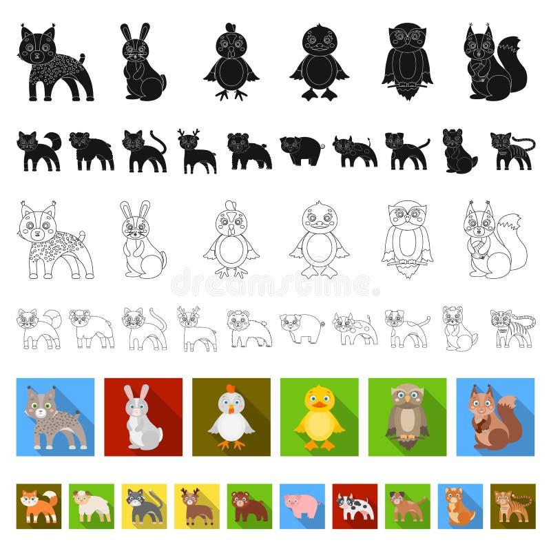 Jouez les icônes plates d'animaux dans la collection d'ensemble pour la conception L'oiseau, le prédateur et l'herbivore dirigent illustration stock