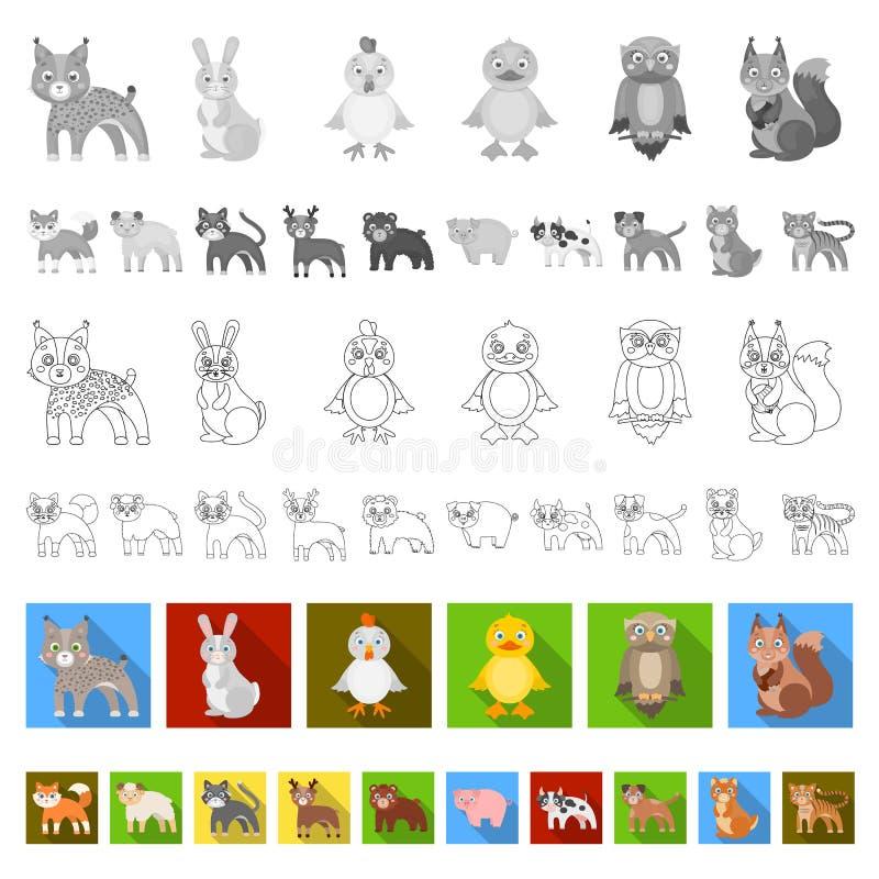 Jouez les icônes plates d'animaux dans la collection d'ensemble pour la conception L'oiseau, le prédateur et l'herbivore dirigent illustration de vecteur
