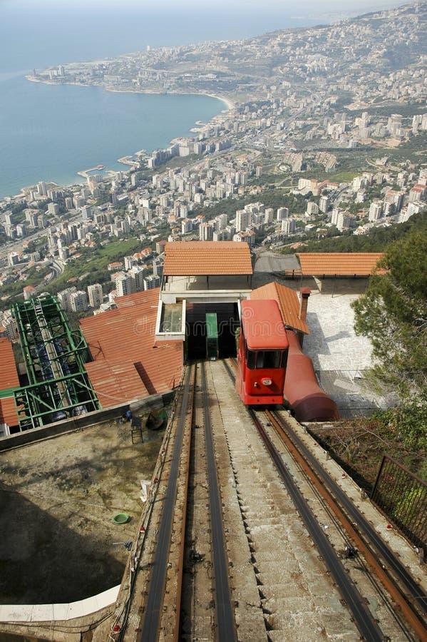jounieh lebanon för kabelbil fotografering för bildbyråer