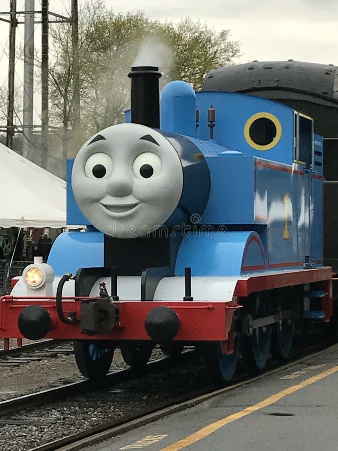 Jour avec Thomas au train de vapeur d'Essex dans le Connecticut photographie stock libre de droits