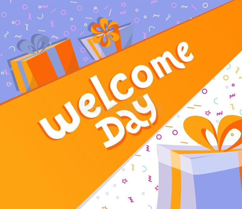 Jour bienvenu marquant avec des lettres la bannière carrée avec des boîte-cadeau Illustration tirée par la main noire de typograp illustration libre de droits