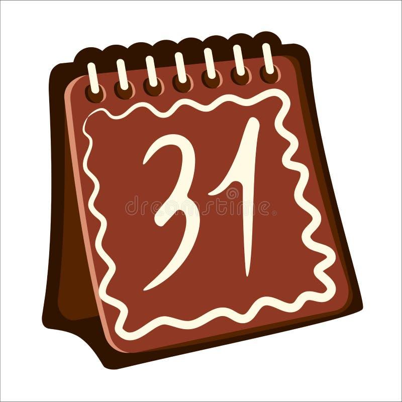 Jour civil 31 de Brown sous forme de pain d'épice de Noël illustration stock