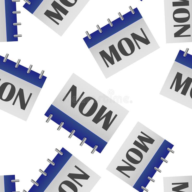 Jour civil de la semaine lundi Illustration de vecteur faite dans le modèle sans couture de couleurs grises et bleues sur un fond illustration de vecteur