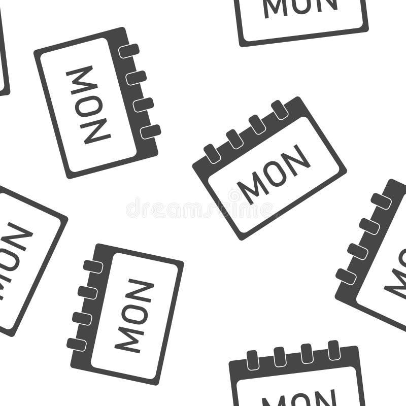 Jour civil de la semaine lundi Illustration de vecteur faite dans le modèle sans couture gris sur un fond blanc Couches group?es  illustration de vecteur