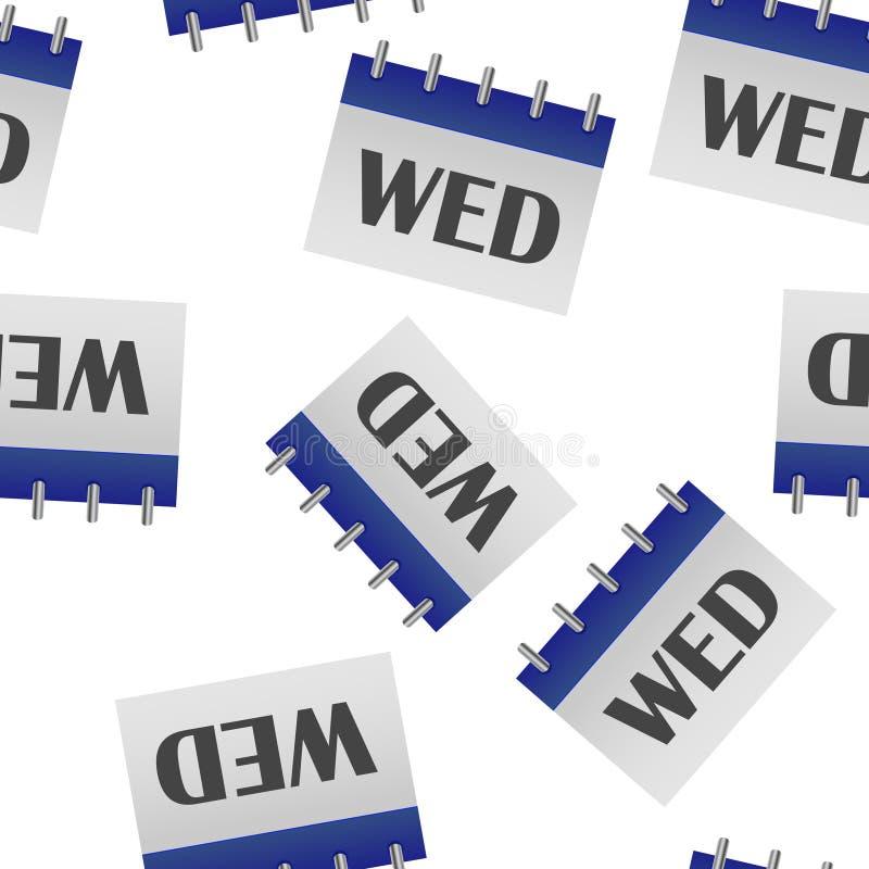 Jour civil de la semaine mercredi Illustration de vecteur faite dans le modèle sans couture de couleurs grises et bleues sur un f illustration de vecteur