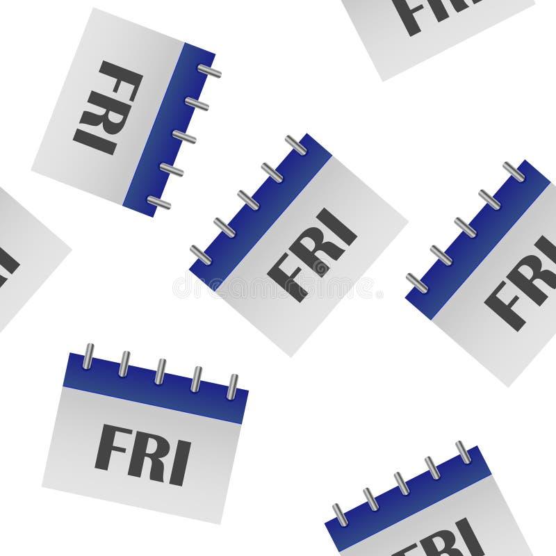 Jour civil de la semaine vendredi Illustration de vecteur faite dans le modèle sans couture de couleurs grises et bleues sur un f illustration de vecteur