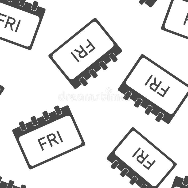 Jour civil de la semaine vendredi Illustration de vecteur faite dans le modèle sans couture gris sur un fond blanc Couches group? illustration libre de droits