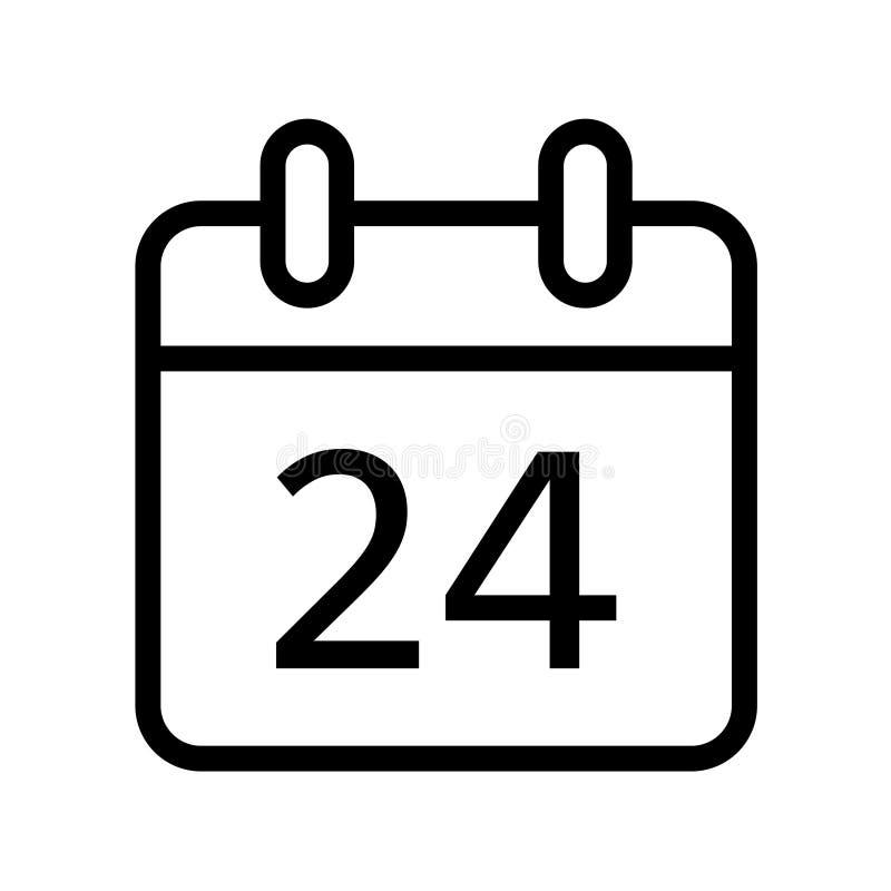 Jour civil vingt-quatre icônes de date illustration de vecteur