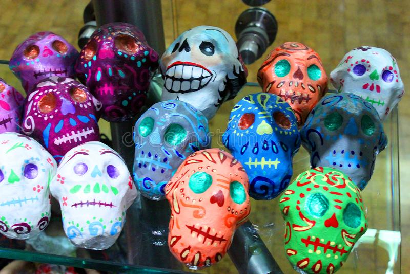 Jour coloré mexicain de skeleton dias de los muertos de crânes de la mort morte image libre de droits
