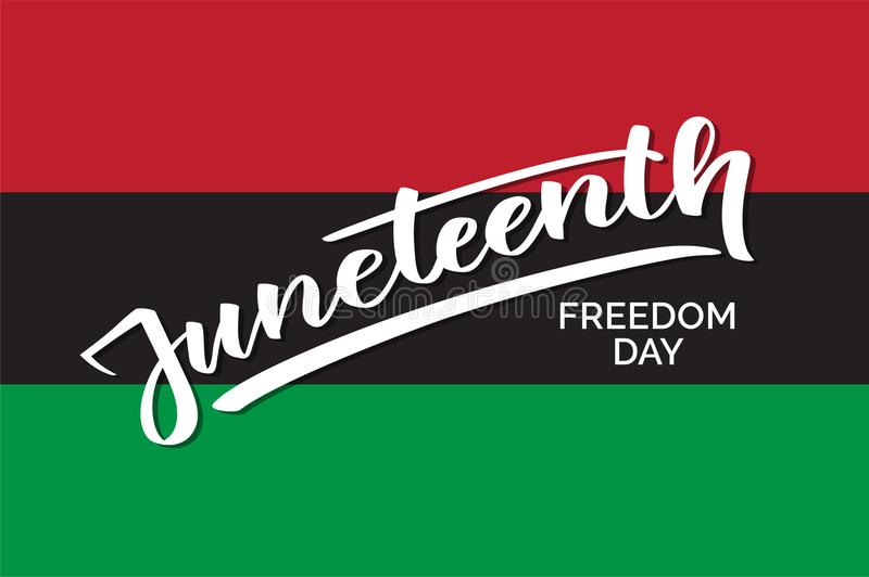 Jour d'émancipation de Juneteenth, texte manuscrit, typographie, lettrage de main, calligraphie illustration stock