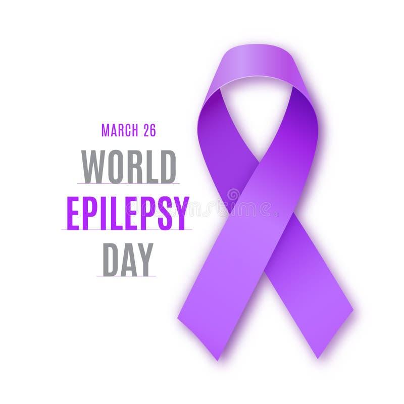 Jour d'épilepsie du monde Ruban pourpre sur le fond blanc Symbole de solidarité d'épilepsie Illustration de vecteur illustration libre de droits